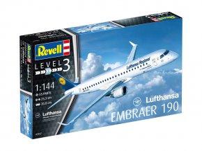 Revell - Embraer 190, Lufthansa, Plastic ModelKit letadlo 03937, 1/144