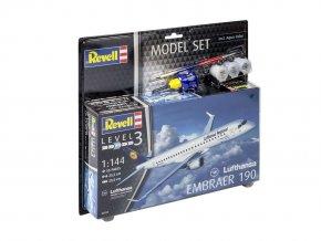 Revell - Embraer 190, Lufthansa, ModelSet letadlo 63937, 1/144