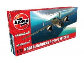 Airfix - North American B-25 C/D Mitchell, USAF, nová forma, Classic Kit letadlo A06015, 1/72