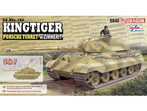 Dragon - Pz.Kpfw.VI Ausf.B Tiger II - Königstiger, věž Porsche s ochrannou pastou Zimmerit, 2 in 1, Model Kit tank 6848, 1/35