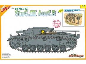 Dragon - Sd.Kfz.142 Sturmgeschütz III Ausf.B - StuG III s německou pěchotou, 1/35, Model Kit tank 9132