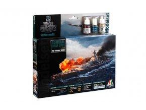 Italeri - bitevní loď Admiral Graf Spee, 1/720. Model Set World of Warships 74003