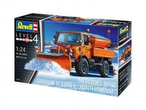 Revell - Mercedes-Benz Unimog U1300L, sněžný pluh, 1/24, ModelKit 07438