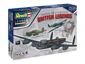 Revell - Avro Lancaster Mk.III, Supermarine Spitfire Mk.Vb, Hawker Hurricane Mk.IIb, 100 Years RAF: British Legends, Gift-Set letadlo 05696, 1/72