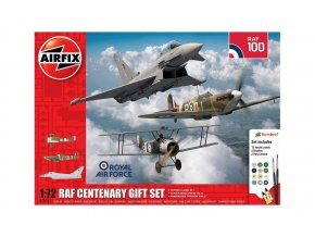 Airfix - Sopwith Camel / Supermarine Spitfire I / Eurofighter Typhoon, RAF sté výročí, Gift Set letadlo A50181, 1/72