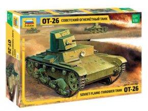 Zvezda - tank T-26 plamenometný, Model Kit 3540, 1/35