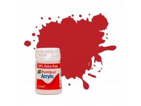 Humbrol - barva akrylová 12ml + 30% navíc zdarma - No 60 Scarlet Matt, AB0060EP