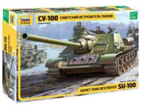Zvezda - SU-100 sovětský stíhač tanků, Model Kit tank 3688, 1/35