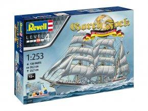 Revell - německý trojstěžňový cvičný bark Gorch Fock - 60 let výročí, Gift-Set loď 05695, 1/253