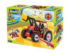 Revell - traktor s nakladačem a figurami, Junior Kit traktor 00815, 1/20