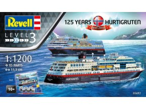 Revell - MS TROLLFJORD & MS MIDNATSOL, 125 Years Hurtigruten, Gift-Set 05692, 1/1200