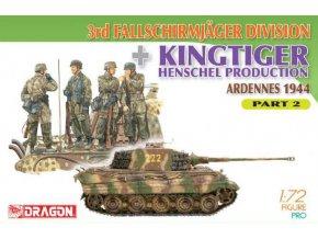 Dragon - Pz.Kpfw. VI Ausf. B Tiger II, Königstiger - Henschel s figurami 3. Fallschirmjager Division, Ardeny, 1944, Model Kit military 7362, 1/72