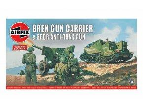 Airfix - Bren Gun Carrier a 6 pdr Anti-Tank Gun, Classic Kit VINTAGE A01309V, 1/76