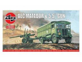 "Airfix - AEC Matador a dělo 5.5"", Classic Kit VINTAGE A01314V, 1/76"