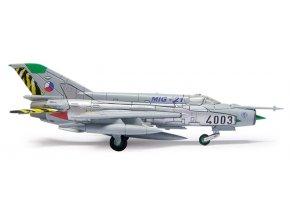 Herpa - MIG-21 Fishbed MF, české letectvo, 211.squadrona, Čáslav 1/200