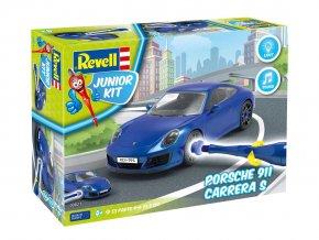 Revell - Porsche 911 Carrera S - světelné a zvukové efekty, Junior Kit 00821, 1/20
