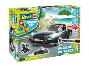 Revell - Porsche 911 Targa 4S - světelné a zvukové efekty, Junior Kit 00822, 1/20