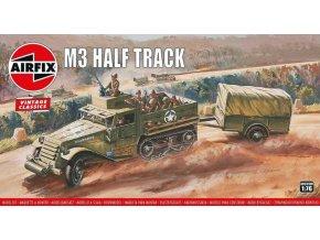 Airfix - M3 Half Track a přípojný vozík, Classic Kit VINTAGE A02318V, 1/76