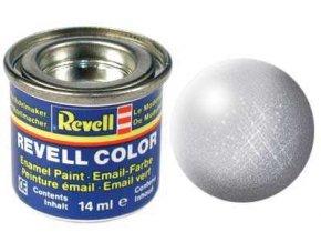 Revell - Barva emailová 14ml - č. 90 metalická stříbrná (silver metallic), 32190