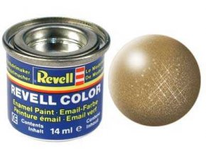 Revell - Barva emailová 14ml - metalická mosazná (brass metallic), 32192
