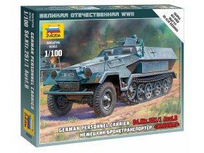 Zvezda - Sd.Kfz.251/1 Ausf.B ''Hakl'', Wargames (WWII) 6127, 1/100