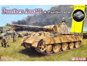 Dragon - Sd.Kfz.171 Panther Ausf.D a polní opevnění s Panther věží, Model Kit 6940, 1/35