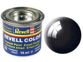 Revell - Barva emailová 14ml - č. 07 leská černá (black gloss), 32107