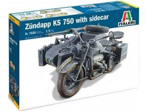 Italeri - Zündapp KS750 s postranním vozíkem, Model Kit 7406, 1/9