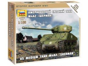 Zvezda - M4A2 Sherman, Wargames (WWII) 6263, 1/100