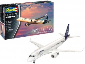 Revell - Embraer 190, Lufthansa, New Livery, Plastic ModelKit 03883, 1/144