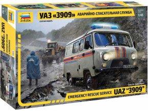 Zvezda - UAZ 3909, záchranná služba, Model Kit 43002, 1/43