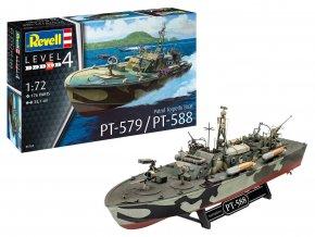 Revell - hlídkový torpédový člun PT-588/PT-579, Plastic ModelKit 05165, 1/72