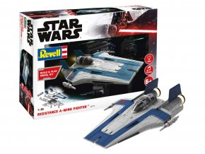 Revell - Star Wars - Resistance A-wing Fighter, blue, světelné a zvukové efekty, Build & Play SW 06773, 1/44