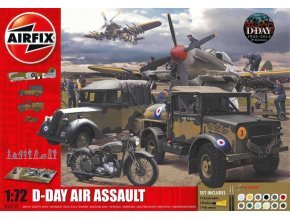 Airfix - diorama vylodění v Normandii, letiště, D-Day 75th Anniversary Air Assault, Gift Set A50157A, 1/72