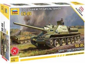 Zvezda - samohybné dělo SU-85, sovětská armáda, Model Kit 5062, 1/72