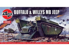 Airfix - set LVT-2 Water Buffalo a Jeep Willys MB, Classic Kit VINTAGE A02302V, 1/76