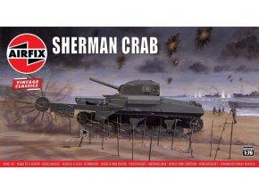 Airfix - M4 Sherman Crab - odminovací zařízení, Classic Kit VINTAGE A02320V, 1/76