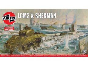 Airfix - vyloďovací plavidlo LCM3 & M4 Sherman, Classic Kit VINTAGE A03301V, 1/76