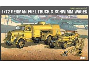 Academy - Opel Blitz cisterna a KdF 166 Schimmwagen, Luftwaffe, Model Kit 13401, 1/72