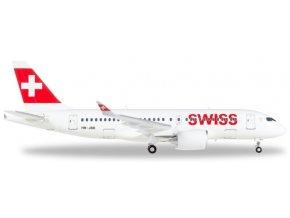 "Herpa - Airbus A220-100, společnost Swiss International Air Lines,  ""Canton de Genève"" HB-JBB, Švýcarsko, 1/200"