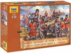 48806 zvezda figurky ruska artilerie petr i veliky 17 18 stoleti wargames aob 8058 1 72