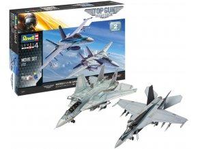 Revell - McDonnell Douglas F/A-18 Hornet a Grumman F-14 Tomcat, Top Gun 2 Movie Set, Gift-Set 05677, 1/72