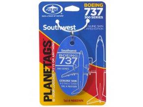 PlaneTags - přívěsek ze skutečného letadla Boeing 737-300, Southwest Airlines