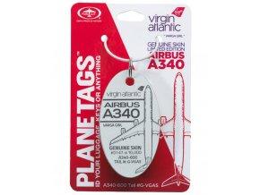 PlaneTags - přívěsek ze skutečného letadla Airbus A340, Virgin Atlantic