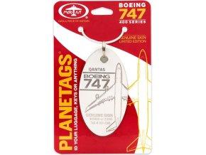 PlaneTags - přívěsek ze skutečného letadla Boeing 747-400 JumboJet, Qantas, registrace VH-OJN, bílý