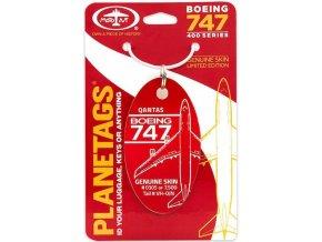 PlaneTags - přívěsek ze skutečného letadla Boeing 747-400 JumboJet, Qantas, registrace VH-OJN, červený