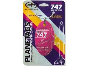PlaneTags - přívěsek ze skutečného letadla Boeing 747 JumboJet, Thai Airways, registrace HS-TGM, barva Magenta