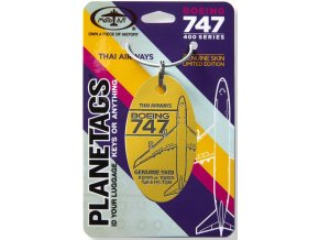 PlaneTags - přívěsek ze skutečného letadla Boeing 747 JumboJet, Thai Airways, registrace HS-TGM, barva zlatá