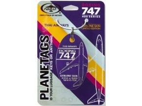 PlaneTags - přívěsek ze skutečného letadla Boeing 747 JumboJet, Thai Airways, registrace HS-TGM, barva purpurová