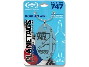 PlaneTags - přívěsek ze skutečného letadla Boeing 747 JumboJet, Korean Air, registrace HL7495